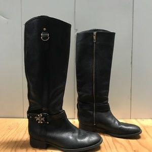 Tory Burch Pebbled Leather Riding Boots